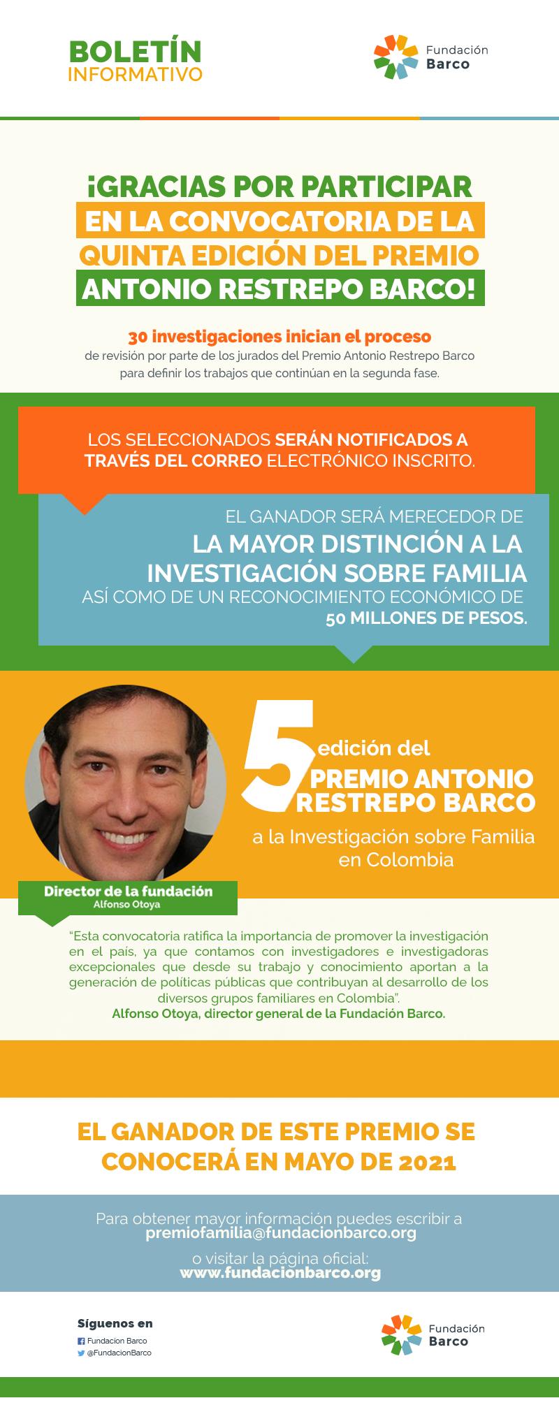 GRACIAS POR PARTICIPAR EN LA CONVOCATORIA DE LA QUINTA EDICIÓN DEL PREMIO ANTONIO RESTREPO BARCO