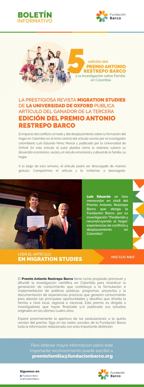 LA PRESTIGIOSA REVISTA MIGRATION STUDIES DE LA UNIVERSIDAD DE OXFORD PUBLICA ARTÍCULO DEL GANADOR DE LA TERCERA EDICIÓN DEL PREMIO ANTONIO RESTREPO BARCO