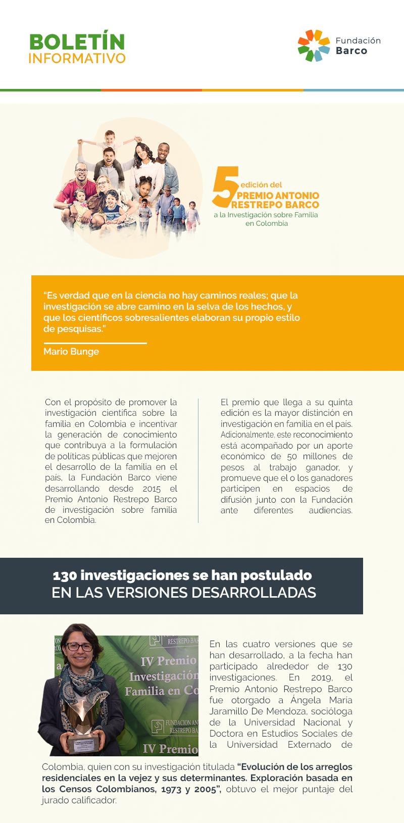 5TA EDICIÓN DEL PREMIO ANTONIO RESTREPO BARCO A LA INVESTIGACIÓN SOBRE FAMILIA EN COLOMBIA